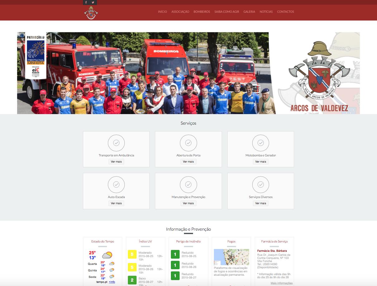infogenial, websites, sítios web, web development, ahbvav, asociação humanitária dos bombeiros voluntários de arcos de valdevez, arcos de valdevez